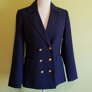 H&M navy blue Balmain style blazer jacket size 6
